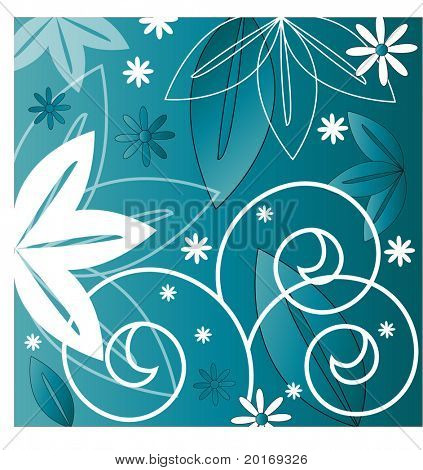 funky background with leaves spiral vector