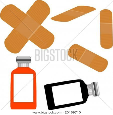 bandaids and medicine bottles  vector