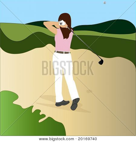 golfer getting out of sand trap