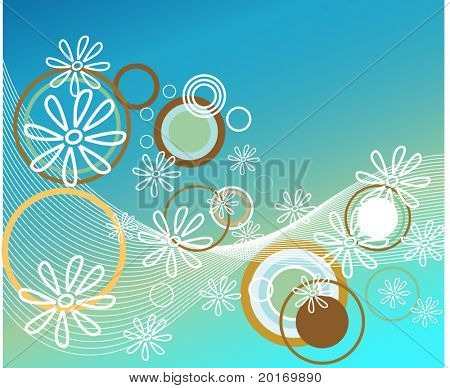 funky circle flower and netting background vector