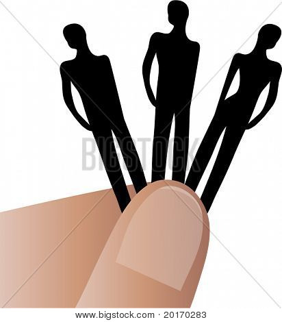 fingers holding three people vector