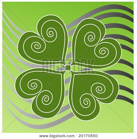 funky design four leaf clover stylized vector