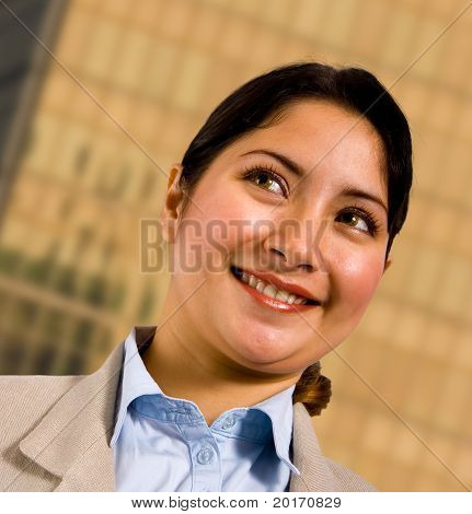Business Woman Standing Outsite Her Company Headquarters