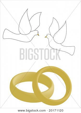 love birds and rings editable or  room for your copy vector