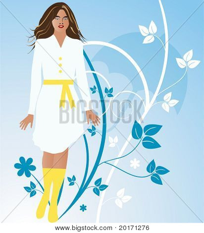 beautiful girl with silhouette of umbrella and leaves behind vector (babyblue eyes)