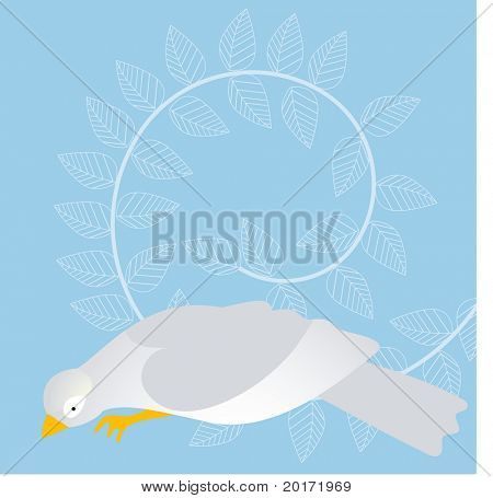 bird with heart wing and leaves behind vector