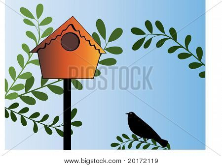 birdhouse with bird and leaves  vector