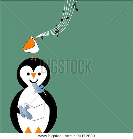 stylized penguin with bird on its head singing vector