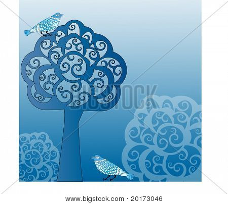 tree bushes and birds vector