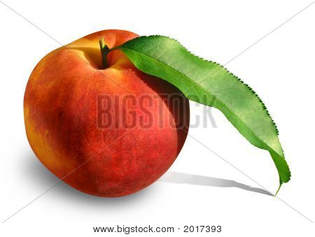 Peach With Leaf 2