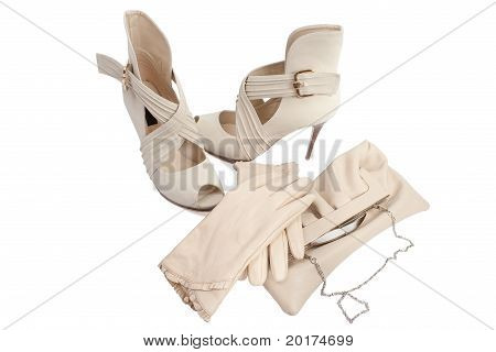 Womens Shoes, Gloves And Handbag