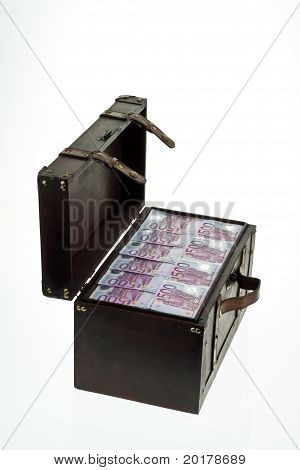 Chest with Euro banknotes.