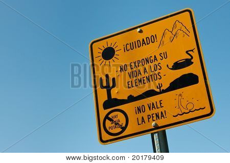 Warning Sign For Illegal Immigrants