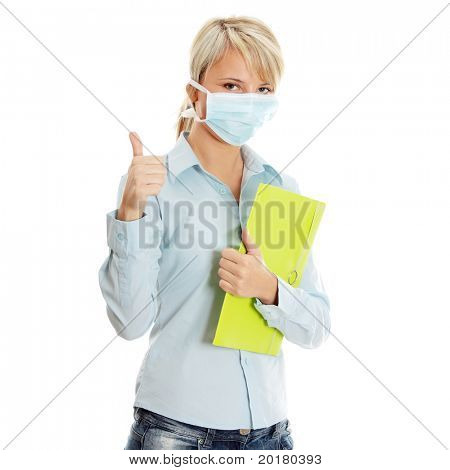 Young caucasian student woman with mask on her face. She is defending her self from viruses. Isolated on white
