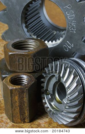 cog, gears and large nuts