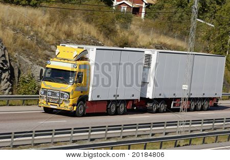 large lorry, truck on motorway