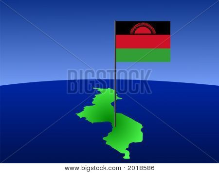 Map Of Malawi With Flag