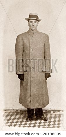 Man in Coat Antique Photo