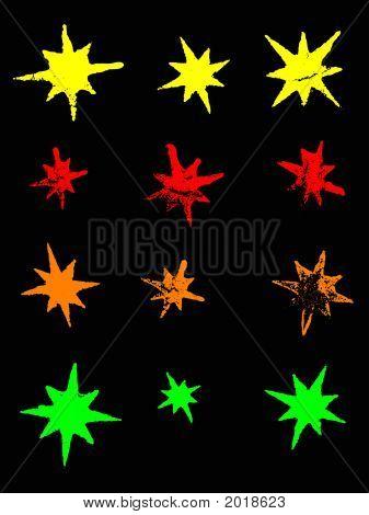 zwölf Neon Grunge Sterne