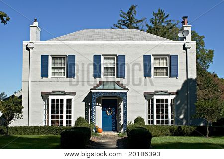 Gray House with Blue Accents