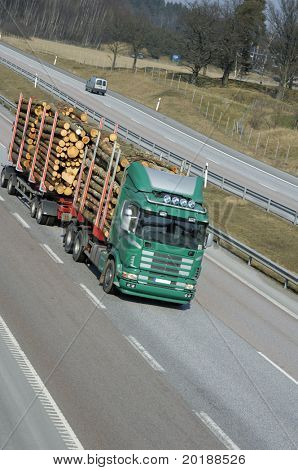 timber-truck on highway, elevated view