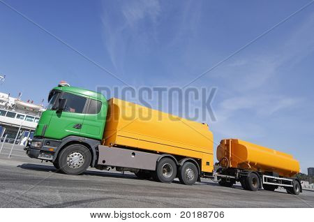 fuel-truck stationary in a commercial area