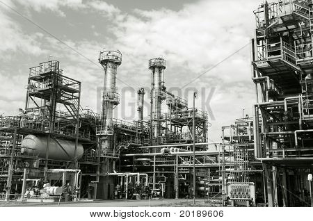 refinery, industrial-site in a duplex greenish toning concept