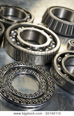 large industrial ball-bearings in natural color against steel background