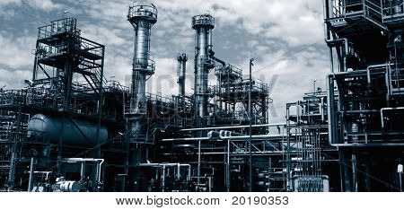 oil refinery, industrial plant in duplex toning