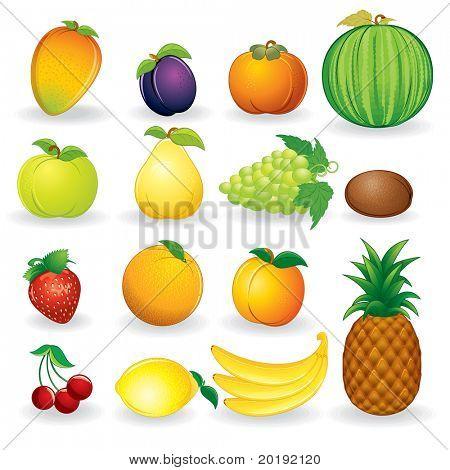 Set of fruit vector illustrations isolated on white background