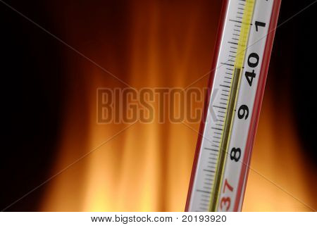 thermometer indicating a high temperature, 40 degrees