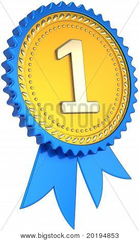 Award ribbon badge golden number one winner