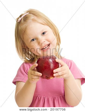 Little girl portrait eating red apple isolated