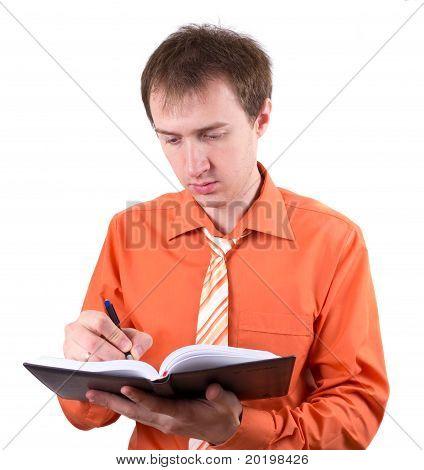 El joven empresario con el registro diario