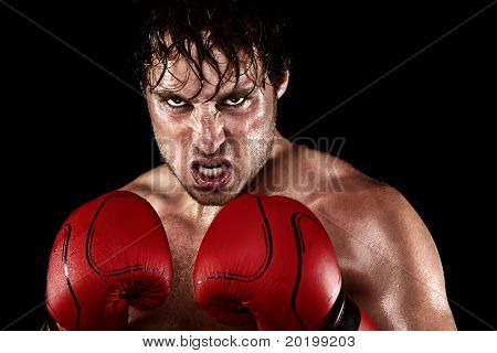 Boxer Boxing staring angry, mean and sweat showing strength. Young man looking aggressive with boxing gloves. Caucasian male model isolated on black background.