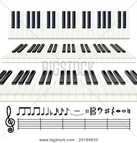 Musical Design Elements - Piano keys or Organ keyboard and all note icons