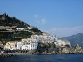 View Of Amalfi Town From Ocean poster