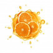 The raster version Orange juice. Realistic splash of juice with orange and orange slices. Fresh frui poster