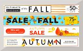 Sale Promotion Web Banner With Luxury  Autumn Background. Promo Fall Season Discount Layout With Fas poster