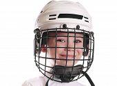Постер, плакат: Мальчик в хоккейный шлем