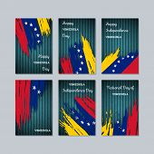 Постер, плакат: Venezuela Patriotic Cards For National Day Expressive Brush Stroke In National Flag Colors On Dark