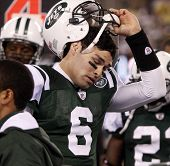 EAST RUTHERFORD - DECEMBER 12: New York Jets quarterback Mark Sanchez' reaction after fumbling the b