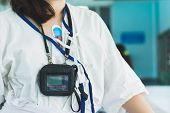Patient Wearing Holter Monitor Device For Monitoring Of An Electrocardiogram 24 Hour Heart Investiga poster