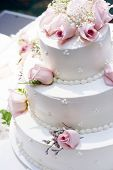 picture of three tier  - three tier cake with pink roses - JPG
