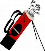 foto of golf bag  - golf bag with clubs isolated - JPG