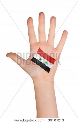 The Syria flag painted on the palm.