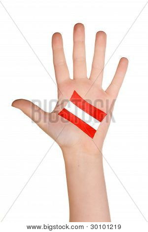 The Austrian flag painted on the palm.