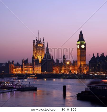 Westminster Palace At Dusk