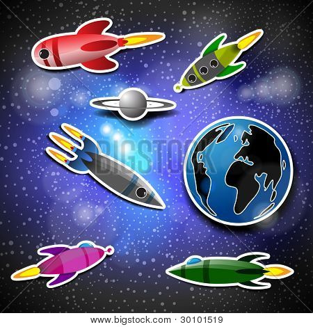Space Background with Rockets, Planets and Moon