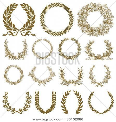 Vector Bronze Wreath and Laurel Set. Easy to edit. All pieces are separate.